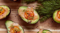 Salmon and Avocado Baked Eggs